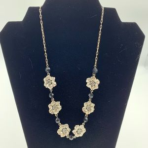Flower Beaded Chain Link Necklace Adjustable